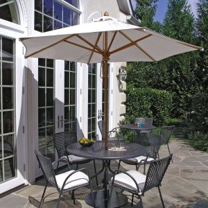 Savannah dining table and chairs with Eucalyptus 9 ft. 6 in. hexagon umbrella.