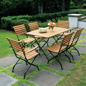 Teak patio dining set - Vineto rectangular folding table and chairs.