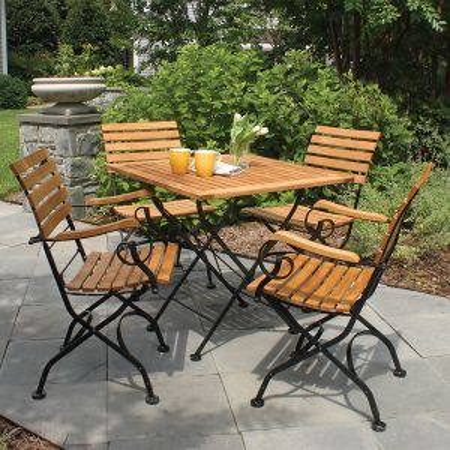 teak patio set - Vineto square folding table with Vineto folding chairs