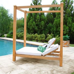 Vista double chaise outdoor pool cabana in Oyster