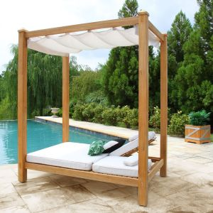 Vista double chaise patio cabana with canopy.