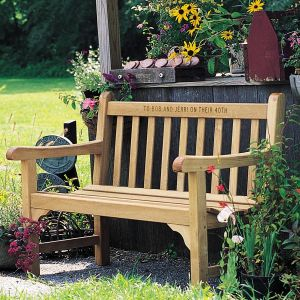 Windermere 4 ft. teak wooden garden bench with personalized engraving