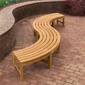 Circa 2 piece serpentine backless curved teak outdoor bench set.