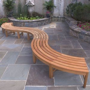 Commercial outdoor bench seating - Circa curved backless 3 piece serpentine bench set