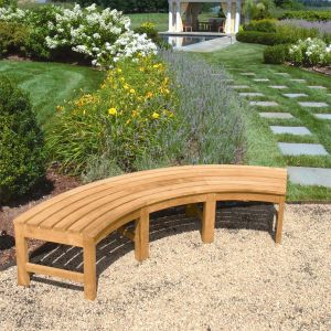 Circa backless curved outdoor bench.