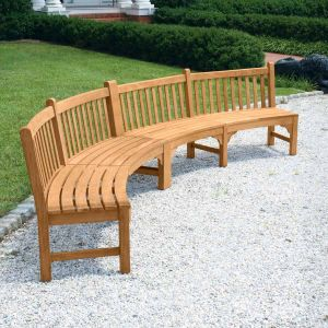 Windermere armless double curved wooden bench.