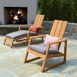 Aspen teak modern adirondack chairs with Gray Linen cushions and footrest