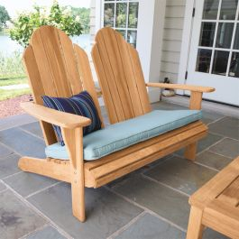 Teak Adirondack loveseat with Lagoon cushion