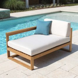 Casita left-arm teak outdoor chaise lounge with with Basketweave Oyster cushions.