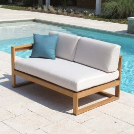 Casita left arm sectional lounge loveseat with Basketweave Oyster cushions.