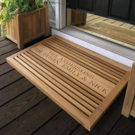 Grande teak doormat with personalized engraving