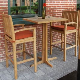 Foxhall bar table with teak top, shown with teak outdoor bar stools