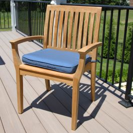 Foxhall grade A teak dining chair with cushion in Sapphire Blue
