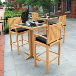 Foxhall teak bar stools and bar tables with granite table tops