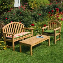 Berwick 48 in. teak outdoor coffee table with Meridian 4 ft. teak bench and Meridian teak armchair