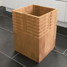 Teak waste basket - Saratoga trash receptacle