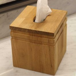 Saratoga teak tissue box cover.