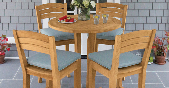Shoreham teak bar stools and table