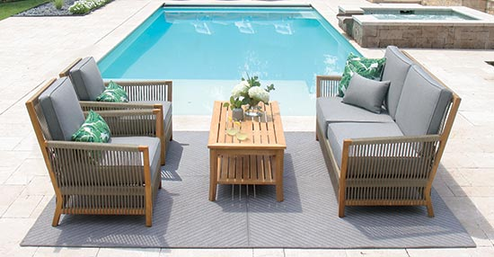 Strand teak and outdoor rope lounge seating collection.
