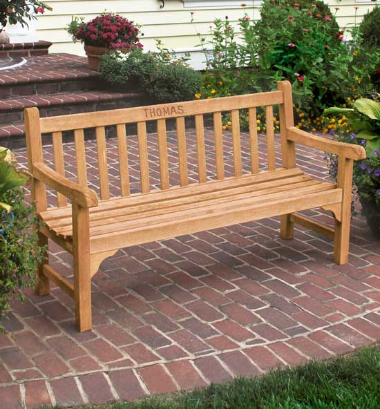 Personalized Teak Benches
