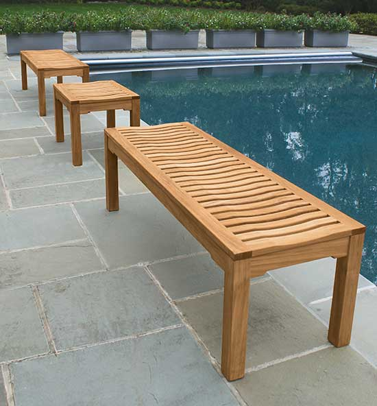 Backless Teak Benches