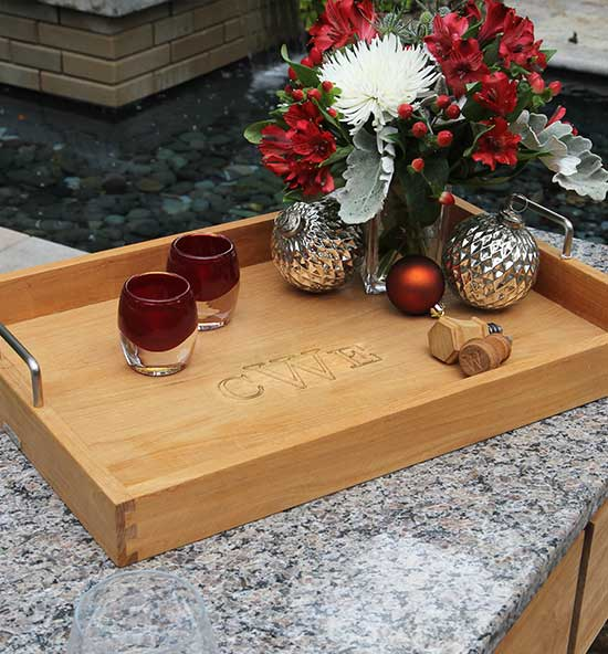 Engraved Teak Serving Trays