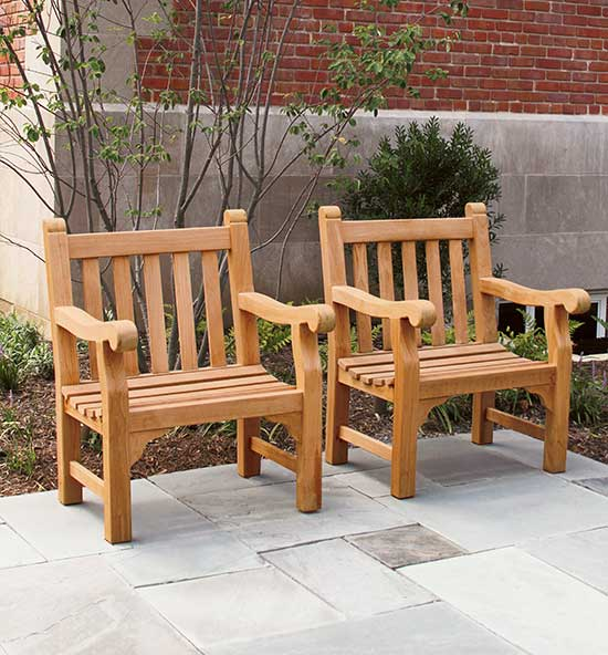 Teak Wood Bench Armchairs