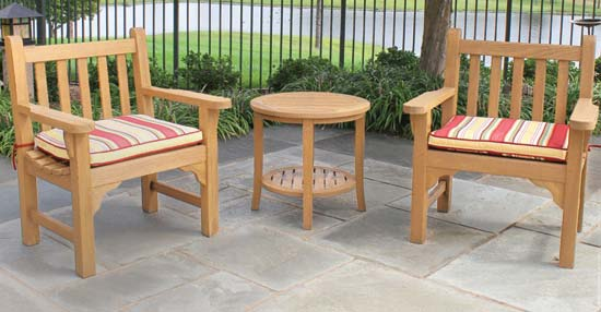 Teak Bench Armchairs
