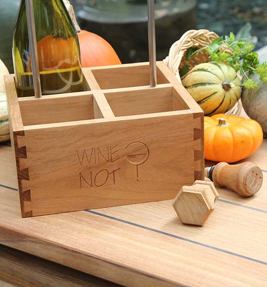Teak Wine Caddy and Wine Stoppers
