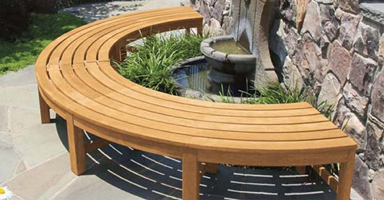 Circa Teak Curved Bench
