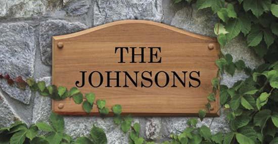 Teak Engraved Address Plaque