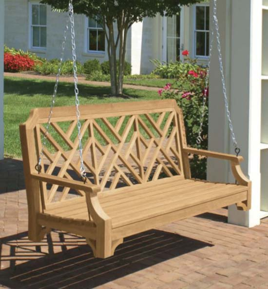 Teak Chippendale Porch Swing