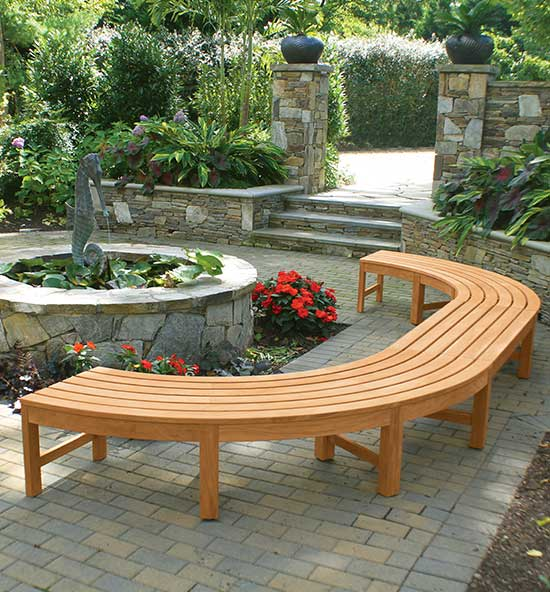 Curved Teak Outdoor Bench