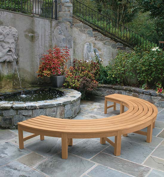 Curved Teak Outdoor Benches