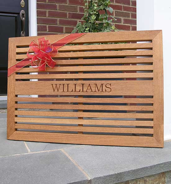 Engraved Teak Doormats