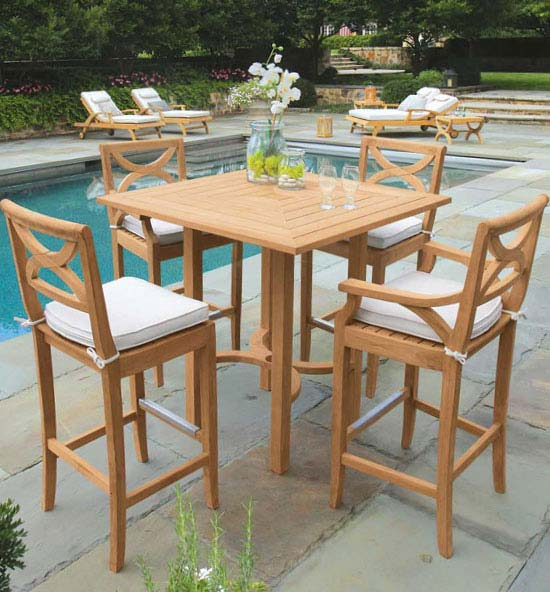 Fiori Teak Bar Table and Stool