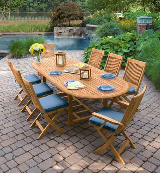 Harborside Teak Folding Chairs & Tables