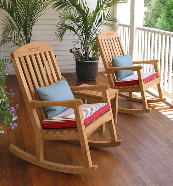 Teak Engraved Rocking Chairs