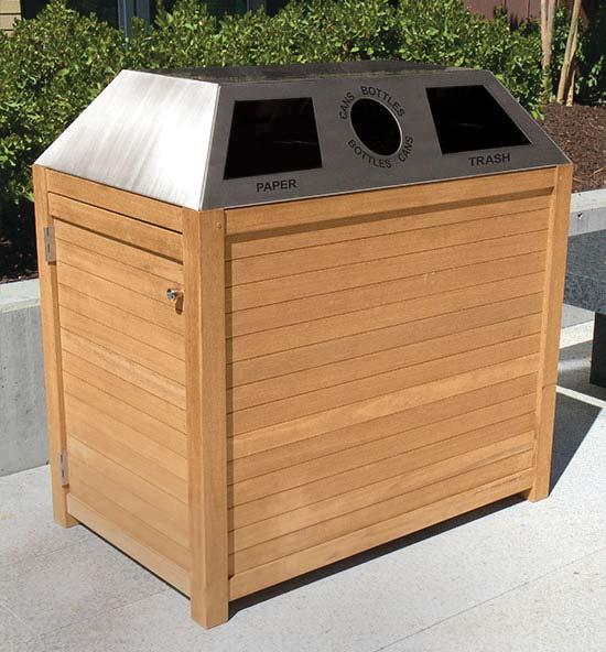 Teak Recycling Receptacles