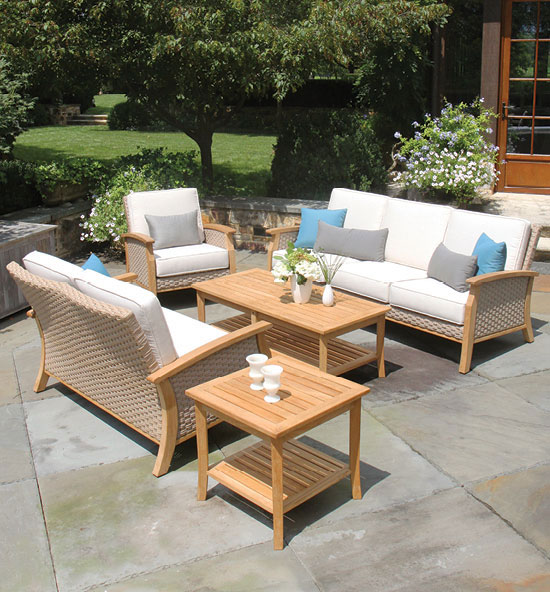 Sawgrass teak and all weather wicker collection.