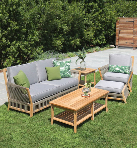 Strand teak and outdoor rope lounge seating