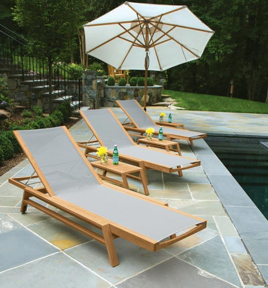 Summit teak outdoor pool furniture