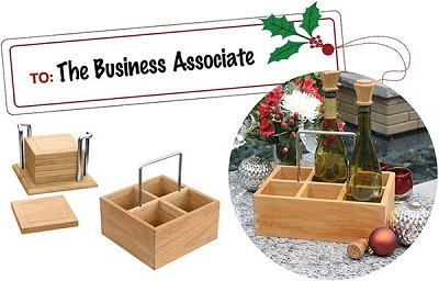 gifts for a business associate - teak wine caddy