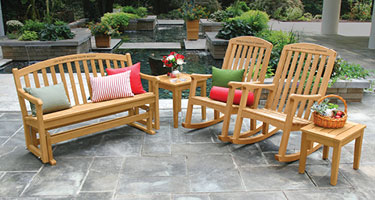 Engraved Teak Benches and Rocking Chairs