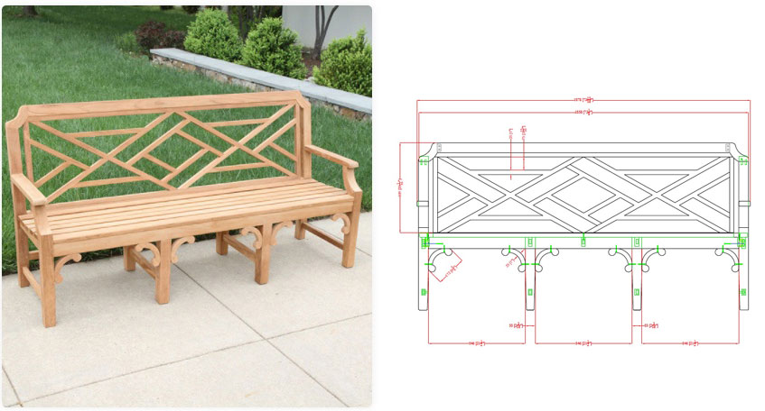 Custom Chippendale Bench