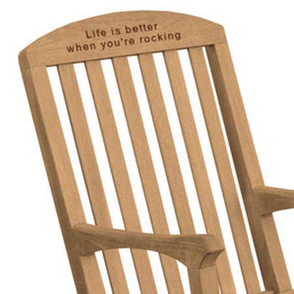 Engraved Linden Teak Rocking Chair