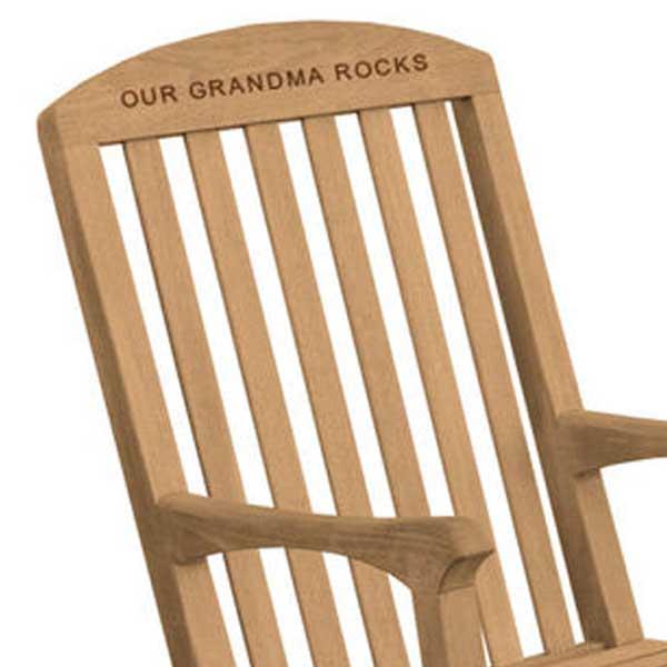 Engraved Teak Rocking Chair