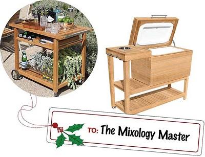 Mixology Master Gift Ideas - Teak Bar Cart