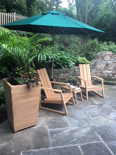Country Casual Teak Aspen Adirondack Chairs and Studio Planters