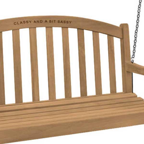 Engraved Teak Swing